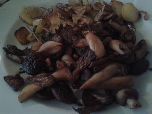 Gemischte Pilze mit Bratkartoffeln und Trüffel
