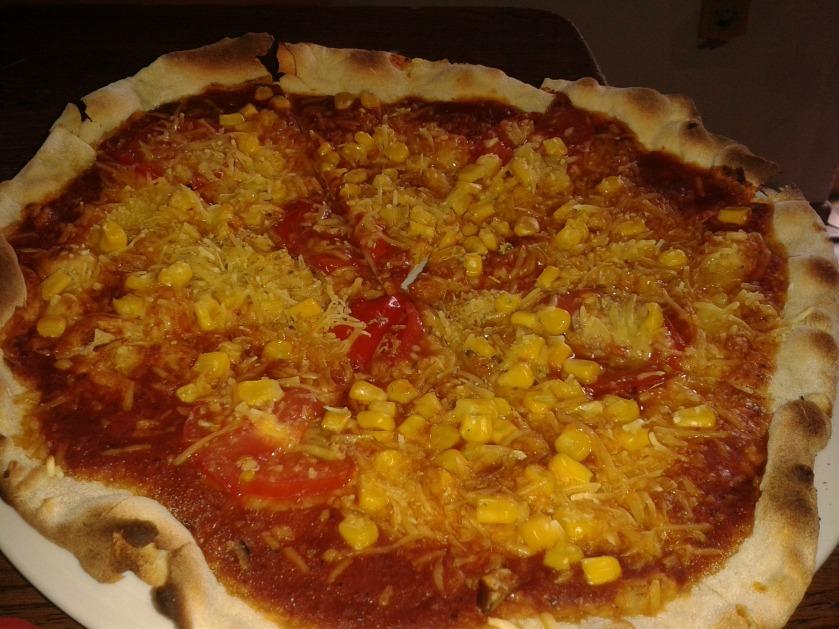 Pizza Grünschnabel, aber ohne Ruccola, aber mit Mais fürs Kind